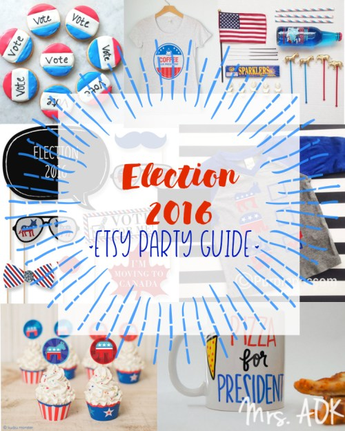 This election has been overwhelming, amiright? But hey it's almost over. So, let's party! I went ahead and took an arrow for you and sifted through one of my happy places, Etsy, to find some bipartisan party goods.
