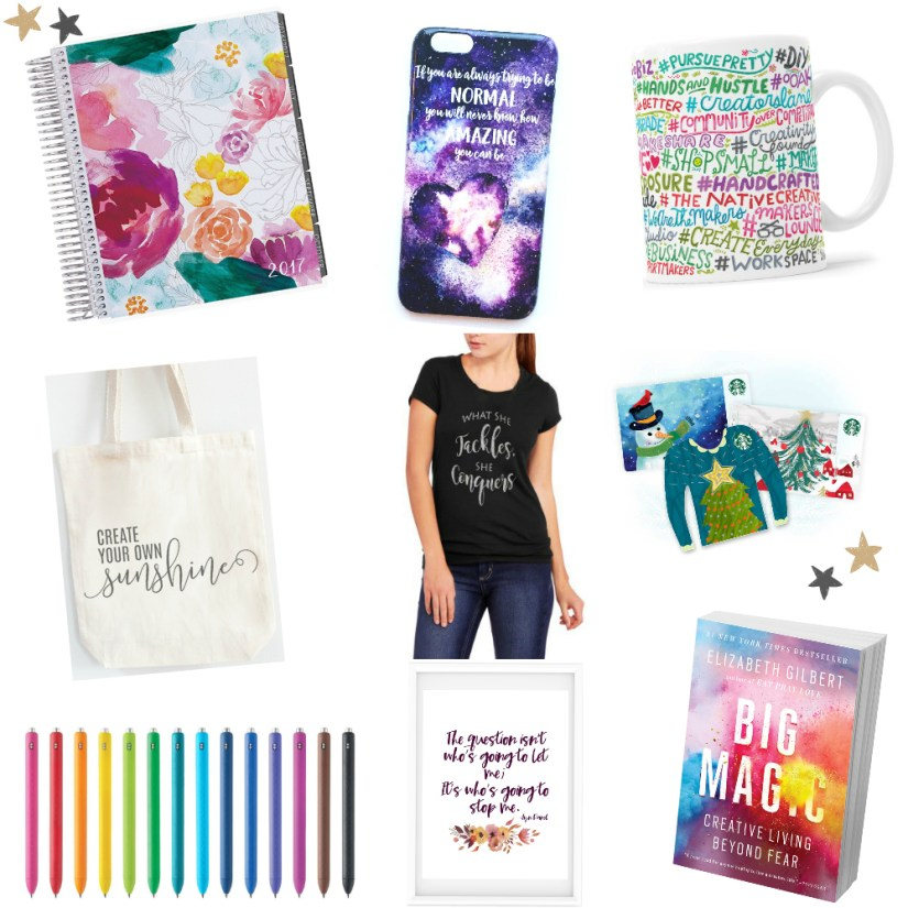 {Day 7 Blogmas: Gifts} Is finding unique gifts for your creative lady friends a little difficult? I'm sharing a few fun and inspiring gifts to give to your creative lady friends.
