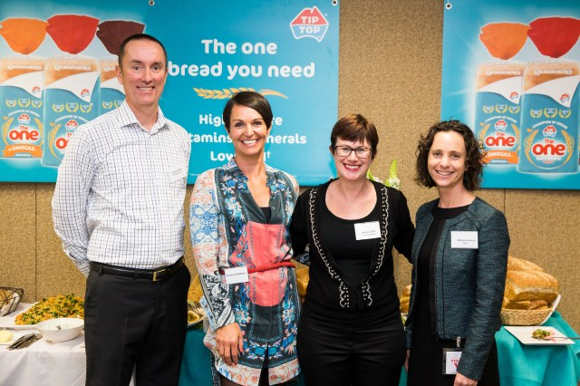 Image provided: L-R Graeme Cutler, Tip Top Marketing & Innovation Director, Dr Joanna McMillan, Dietician, Justine Cotter, Tip Top Marketing Manager, Michelle Broom, GLNC Nutrition Program Manager
