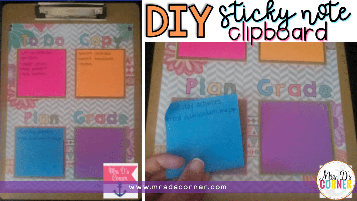 diy sticky note clipboard blog post header