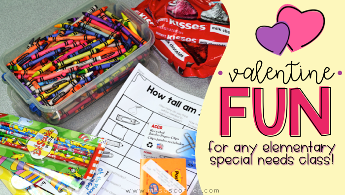 Valentine's Day Fun activities and free resources for any special needs classroom. Blog post at Mrs. D's Corner.