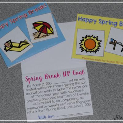 Spring Break IEP Goal Card for Teachers