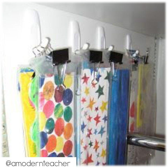Use command hooks to hang bulletin board borders.