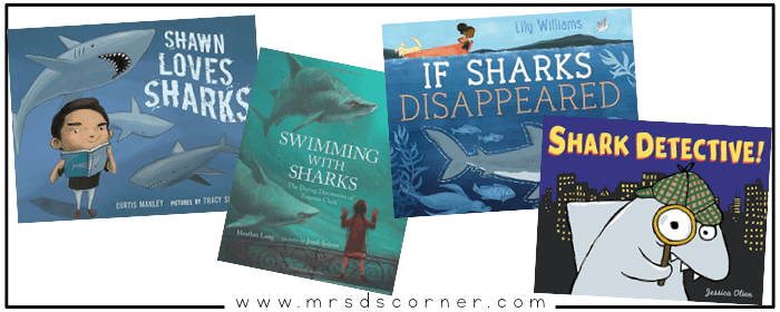 """These books about sharks for kids are informative, somewhat intense, but so important. Sharks are the biggest part of the ocean ecosystem, and sharks need our help. Sharks aren't the """"bad guys"""" you see portrayed in the movie Jaws or the highly comedic Sharknado, and I am on a mission to change how my students view sharks... starting with these books. Blog post at Mrs. D's Corner."""
