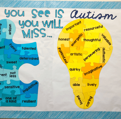 autism awareness bulletin board. autism awareness and autism acceptance poster display. free download.