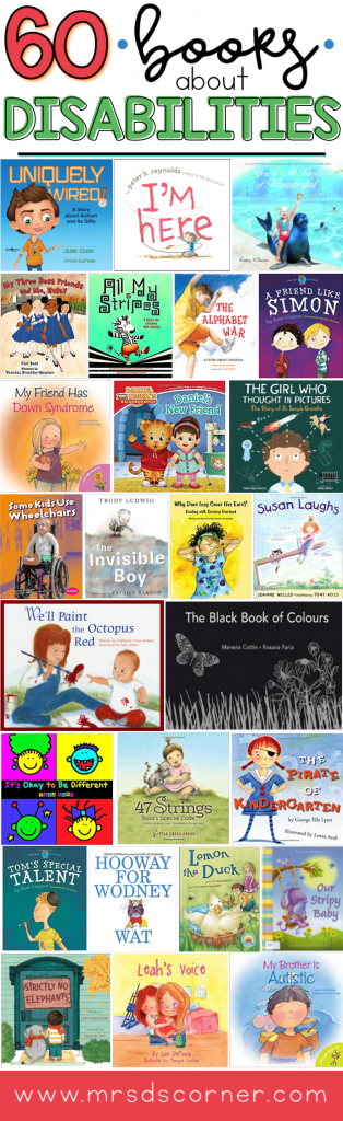 60 books about disabilities for kids. Children's books about disabilities to introduce tough topics to other children and adults. Blog post at Mrs. D's Corner.