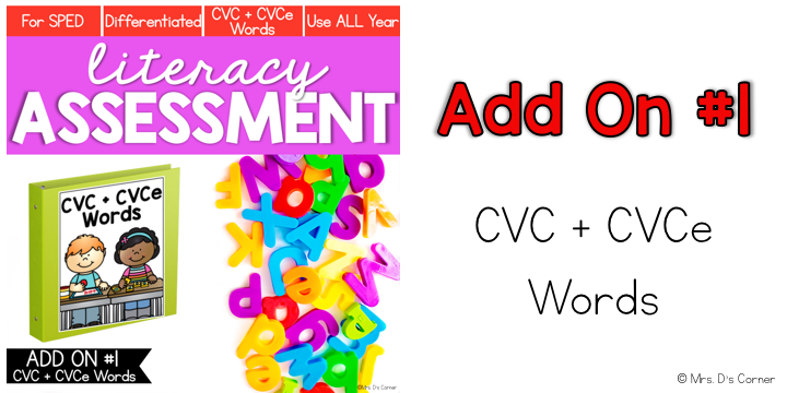 cvc and cvce words add on pack for literacy assessment