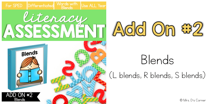 blends l blends r blends s blends add on pack for literacy assessment