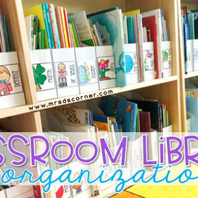 classroom library and organization tips blog header. special needs classroom library.