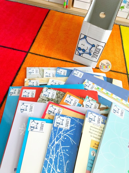 classroom library and organization tips - add a sticker to the back for errorless put away