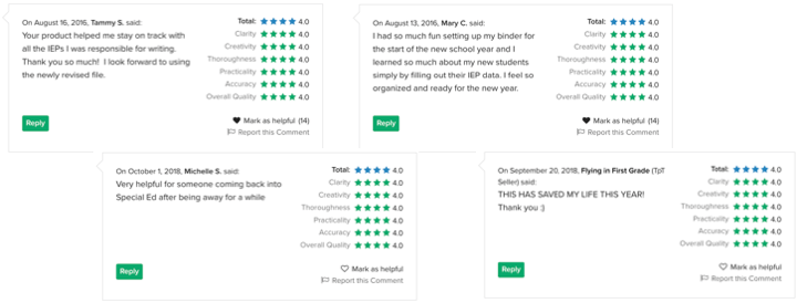 iep binder feedback from special ed teachers