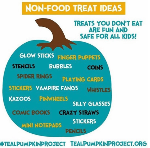 teal pumpkin project - halloween treat ideas that aren't candy