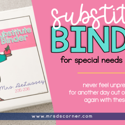 substitute binder for special ed teachers header