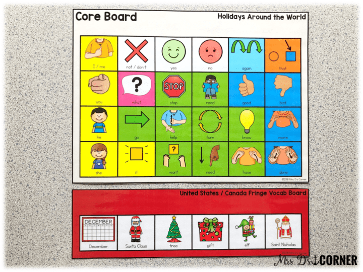 holidays around the world - core board and fringe vocabulary board for each holiday