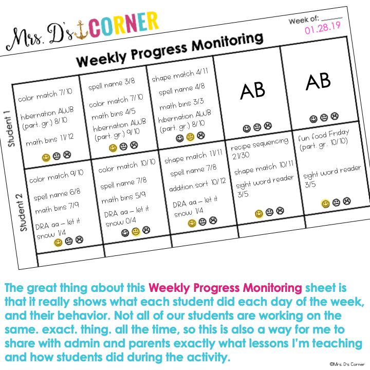 weekly progress monitoring sheet example