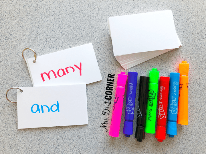 Sight word readers and sight word flash card rings.