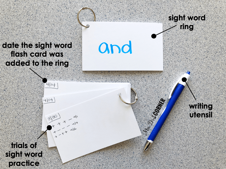 Each student has their own sight word binder ring full of sight words they have mastered and are working on mastering.