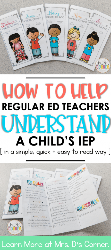 IEP Quick Look. I've learned from my experience in special ed that a lot of the time gen ed teachers take a newly copied IEP they're legally supposed to read + put it in a drawer. I get it. It's a HUGE document with lots of legal jargon. I like to help them out, make it quick + easy to read in simple words that don't include any special ed abbreviations. It takes me a few minutes, it saves them a few minutes + builds a relationship between us. One page, all the information needed. Easy to share.