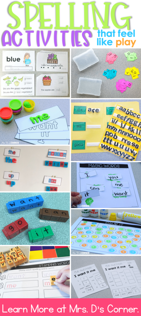 Spelling activities and sight word work in any classroom should feel more like play and less like busy work. These 20 spelling activities are great for reading centers, morning work, and more... like file folder spelling, magnetic spelling, block building, trace and write, sand spelling, magic words, and some with technology integration. Learn all 10+ ways you can move away from spelling tests and make learning spelling and sight words fun. Blog post at Mrs. D's Corner.