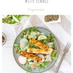gluten free halloumi salad with quinoa on blue plate on white background
