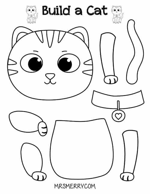 This is an image of Cat Printable with coloring page