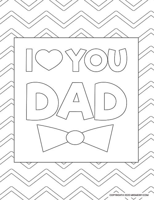 I Love You Daddy Kids Coloring Pages Printable | 647x500