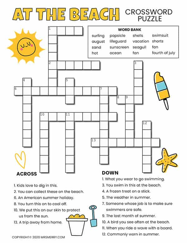 Beach Printable Crossword Puzzle For Kids - Mrs. Merry