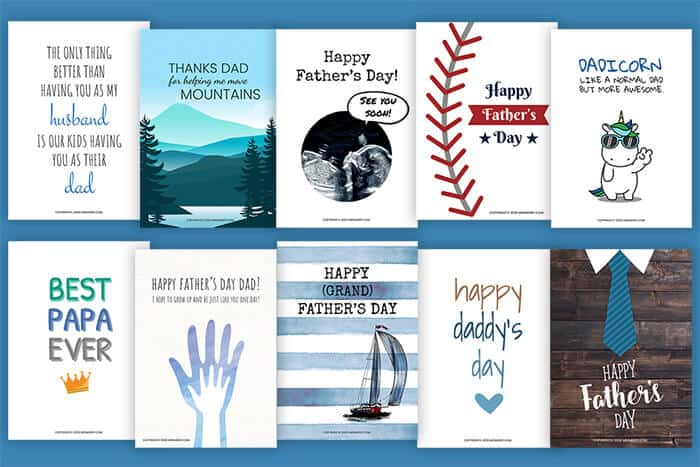 10 Free Fathers Day Cards Printables Mrs Merry