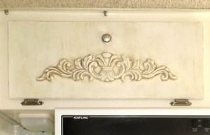 Chalk Painted Cabinet Door with Scroll Work in Casita Camper