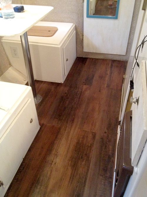 Vinyl flooring added to a Casita Travel Trailer