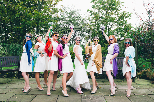 key reflections photography, bride and bridesmaids, colourful pashminas, colourful sunglasses