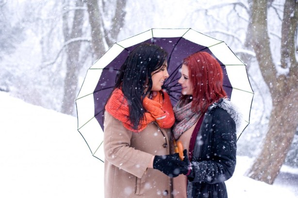 snowy couples shoot,  Katie Byram Photo, same sex couple, equal marriage, marriage equality