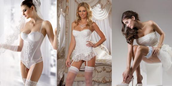 Juliette Bridal Corset (L)  The Juliette bridal corset is a delightful,soft & delicate white wedding corset with a lace up ribbon at the front.  The bodice has carefully designed boning to help shape the figure & wonderfully scalloped cups with underwire support. The matching Juliette Bridal Thong also feature the lovely lace up ribbon & are sold seperately.   Satin bow wedding bustier (M)  The Satin bow wedding bustier is a lace overlay lightly padded underwire strapless wedding bustier. It is beautfully finished with a ruffled lace hemline and has a stretch mesh back with hook and eye closure. The satin bow wedding bustier has removable shoulder and garter straps and comes complete with a matching thong.  Bridal Garter (R)  Bridal Garter is made with gorgeous ivory lace and soft blue satin