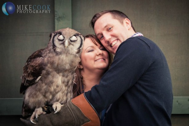 mike cook photography, owl engagement shoot, the scottish owl centre