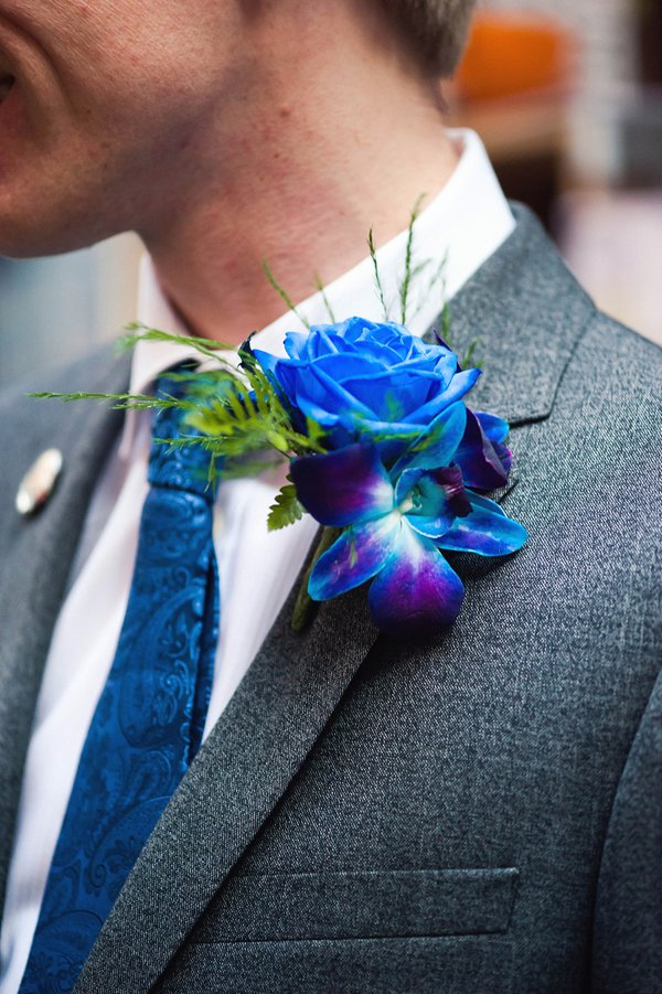 winter wedding, church wedding, julie anne images, anglo dutch wedding , church hall reception, dutch decor, groom buttonhole, blue flower buttonhole, blue rose buttonhole