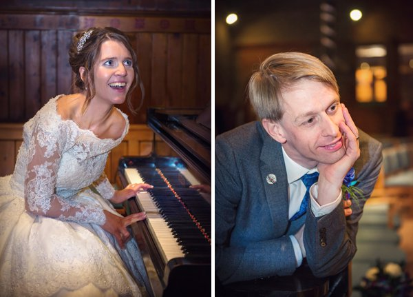 winter wedding, church wedding, julie anne images, anglo dutch wedding , church hall reception, dutch decor, bride playing piano to groom