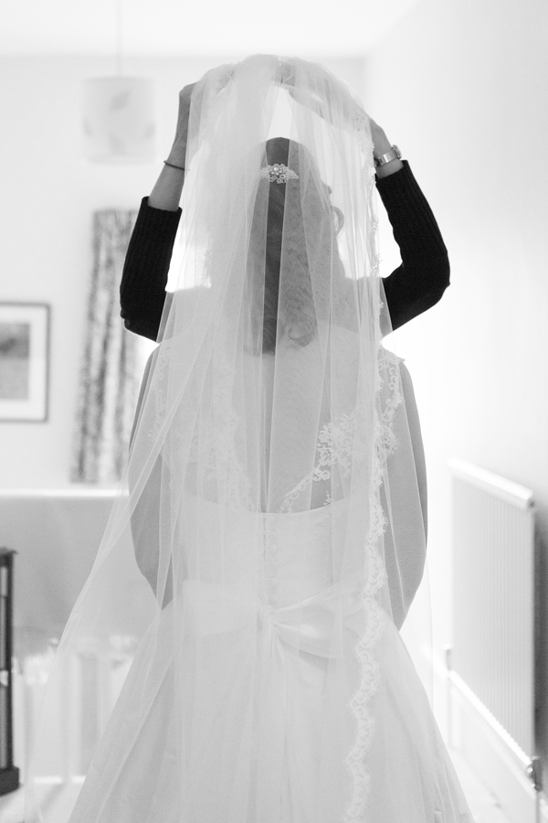 Hayley Ruth Photography, Sturmer Hall, bride getting veil on