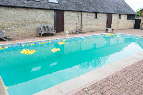 Hayley Ruth Photography , Sturmer Hall, private pool, yellow rubber ducks