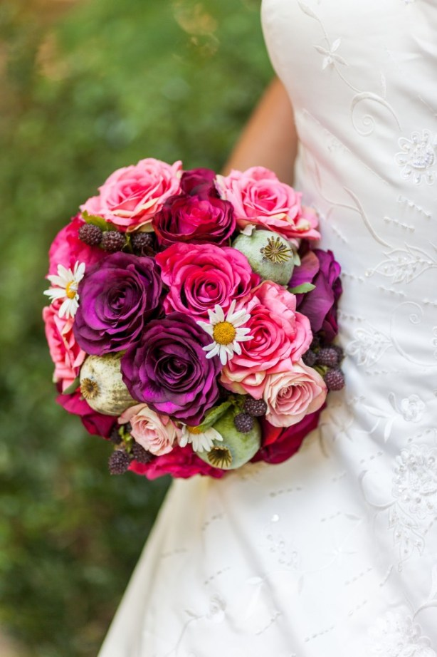 Chris Cowley Photography, bride, pink and red bridal bouquet, eco friendly shoot, ethical wedding, recycled wedding