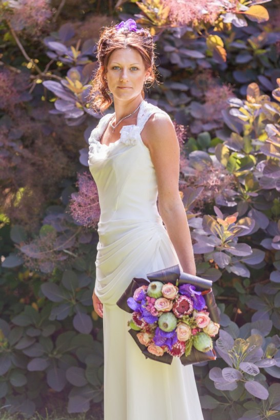 Chris Cowley Photography, bride, pink red and succulents bouquet, eco friendly shoot, ethical wedding, recycled wedding