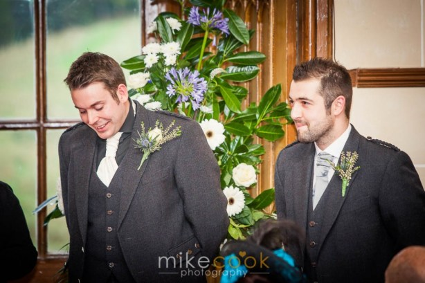groom and best man, dalhousie castle, wedding ceremony, mike cook photography