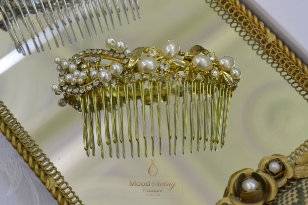 Gold vintage comb, moodswing couture london