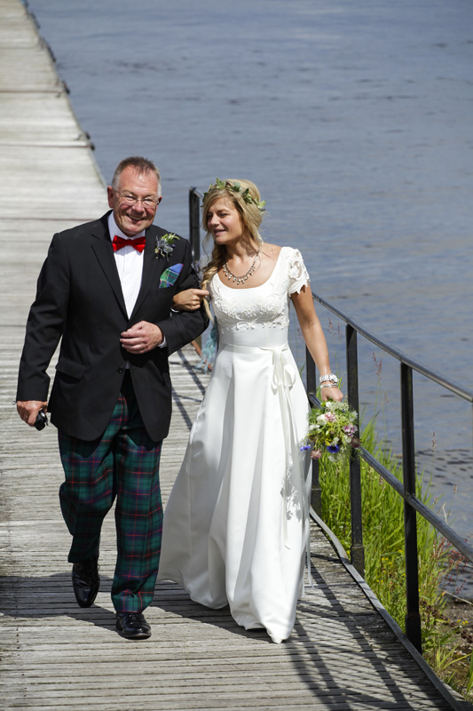 bride and father of the bride entrance , loch lomond, silver photography