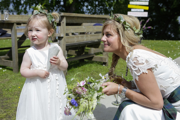 bride and flowergirl, silver photography