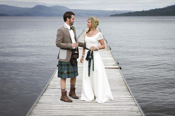 bride and groom, loch lomond, silver photography