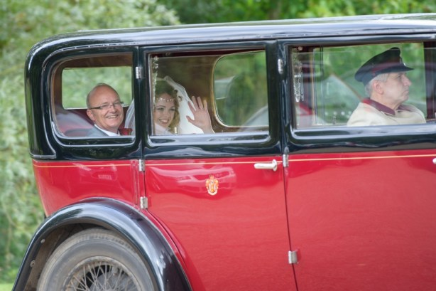 Layer-Marney-Tower, Pengelly-Photography, bride and father of the bride, wedding car