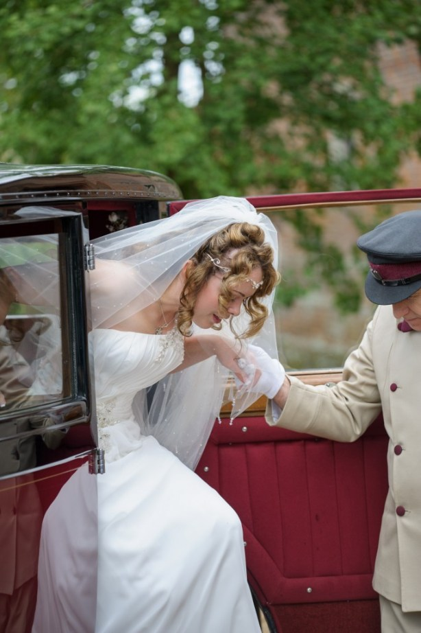 Layer-Marney-Tower, Pengelly-Photography, bride exiting wedding car