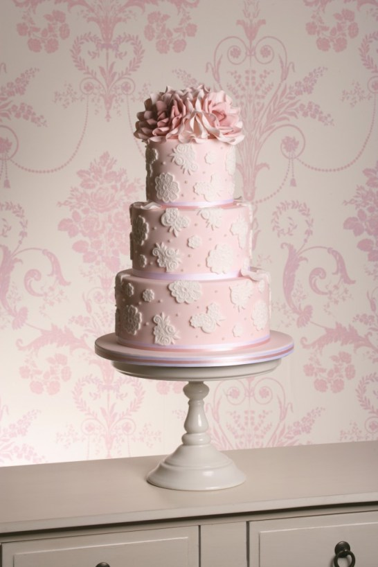 The Designer Cake Company , gateshead, pink lace and roses cake