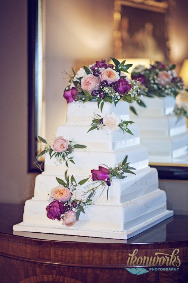 ikonworks-0photography, 4 tier wedding cake with bright flowers