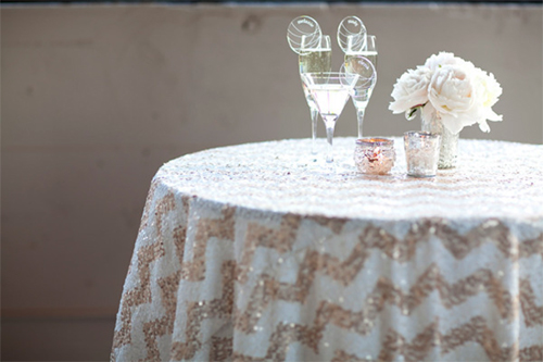 sequin chevron table cloth, event linens, gilded linens